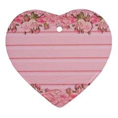 Pink Peony Outline Romantic Ornament (heart)