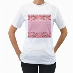 Pink Peony Outline Romantic Women s T Shirt (white) (two Sided)