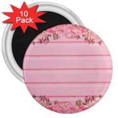 Pink Peony Outline Romantic 3  Magnets (10 pack)
