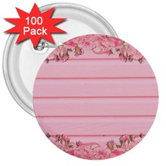Pink Peony Outline Romantic 3  Buttons (100 pack)