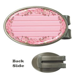 Pink Peony Outline Romantic Money Clips (oval)