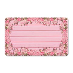 Pink Peony Outline Romantic Magnet (Rectangular)