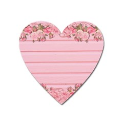 Pink Peony Outline Romantic Heart Magnet