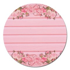 Pink Peony Outline Romantic Magnet 5  (Round)