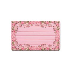 Pink Peony Outline Romantic Magnet (name Card)