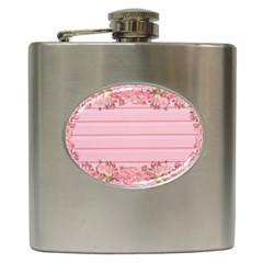 Pink Peony Outline Romantic Hip Flask (6 Oz)