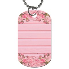Pink Peony Outline Romantic Dog Tag (two Sides)