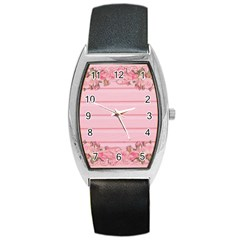 Pink Peony Outline Romantic Barrel Style Metal Watch