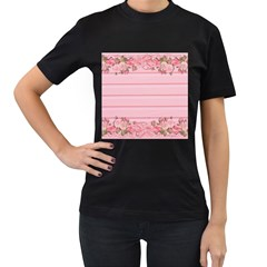 Pink Peony Outline Romantic Women s T Shirt (black) (two Sided)