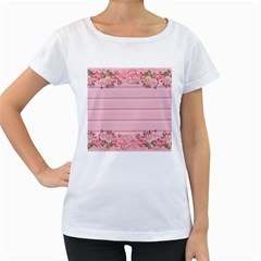 Pink Peony Outline Romantic Women s Loose-Fit T-Shirt (White)
