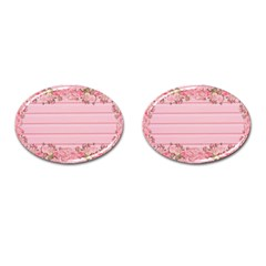 Pink Peony Outline Romantic Cufflinks (oval)
