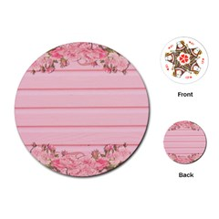 Pink Peony Outline Romantic Playing Cards (Round)