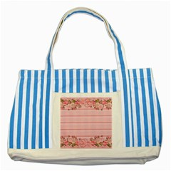 Pink Peony Outline Romantic Striped Blue Tote Bag