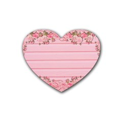 Pink Peony Outline Romantic Rubber Coaster (Heart)