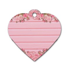 Pink Peony Outline Romantic Dog Tag Heart (Two Sides)