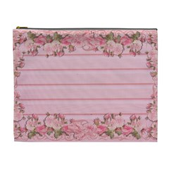 Pink Peony Outline Romantic Cosmetic Bag (xl)