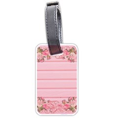 Pink Peony Outline Romantic Luggage Tags (Two Sides)