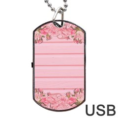 Pink Peony Outline Romantic Dog Tag Usb Flash (two Sides)