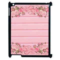 Pink Peony Outline Romantic Apple iPad 2 Case (Black)