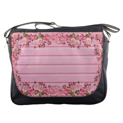 Pink Peony Outline Romantic Messenger Bags