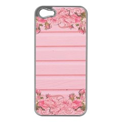 Pink Peony Outline Romantic Apple iPhone 5 Case (Silver)