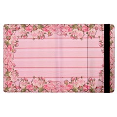 Pink Peony Outline Romantic Apple iPad 3/4 Flip Case