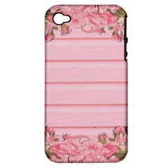 Pink Peony Outline Romantic Apple iPhone 4/4S Hardshell Case (PC+Silicone)