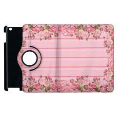 Pink Peony Outline Romantic Apple iPad 2 Flip 360 Case