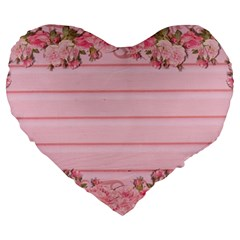 Pink Peony Outline Romantic Large 19  Premium Heart Shape Cushions