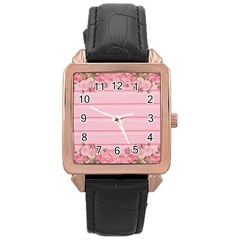 Pink Peony Outline Romantic Rose Gold Leather Watch