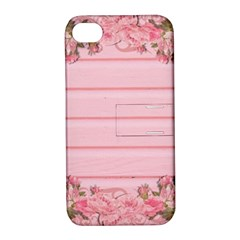 Pink Peony Outline Romantic Apple iPhone 4/4S Hardshell Case with Stand