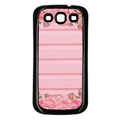 Pink Peony Outline Romantic Samsung Galaxy S3 Back Case (Black)