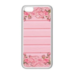 Pink Peony Outline Romantic Apple iPhone 5C Seamless Case (White)