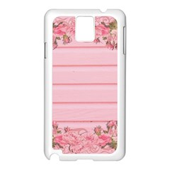 Pink Peony Outline Romantic Samsung Galaxy Note 3 N9005 Case (White)