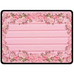 Pink Peony Outline Romantic Double Sided Fleece Blanket (large)
