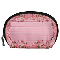 Pink Peony Outline Romantic Accessory Pouches (Large)