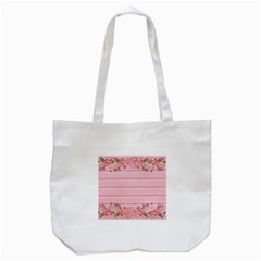 Pink Peony Outline Romantic Tote Bag (White)