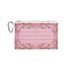 Pink Peony Outline Romantic Canvas Cosmetic Bag (S)