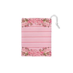 Pink Peony Outline Romantic Drawstring Pouches (xs)