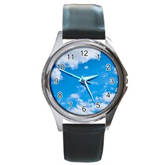 Sky Blue Clouds Nature Amazing Round Metal Watch