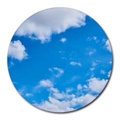 Sky Blue Clouds Nature Amazing Round Mousepads