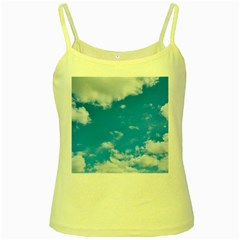 Sky Blue Clouds Nature Amazing Yellow Spaghetti Tank