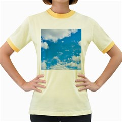 Sky Blue Clouds Nature Amazing Women s Fitted Ringer T Shirts