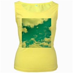 Sky Blue Clouds Nature Amazing Women s Yellow Tank Top
