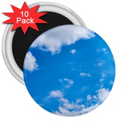 Sky Blue Clouds Nature Amazing 3  Magnets (10 Pack)