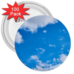 Sky Blue Clouds Nature Amazing 3  Buttons (100 pack)