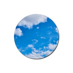 Sky Blue Clouds Nature Amazing Rubber Coaster (Round)