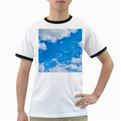 Sky Blue Clouds Nature Amazing Ringer T-Shirts