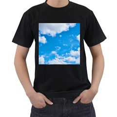 Sky Blue Clouds Nature Amazing Men s T Shirt (black) (two Sided)