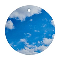 Sky Blue Clouds Nature Amazing Round Ornament (Two Sides)